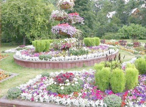 Сад регулярного стилю, композиція з квітів