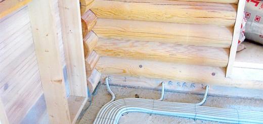 Фотографія прокладки кабелів в підлозі, srubnbrus.com